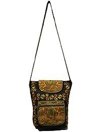 Sofias Pure Leather Women's Kashmiri Purse,Color-Black Emzsofiasembpur14