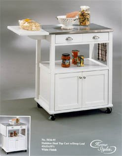 Buy Low Price Stainless Steel Kitchen Cart with Drop Leaf – White – Home Styles (B00009N86V)
