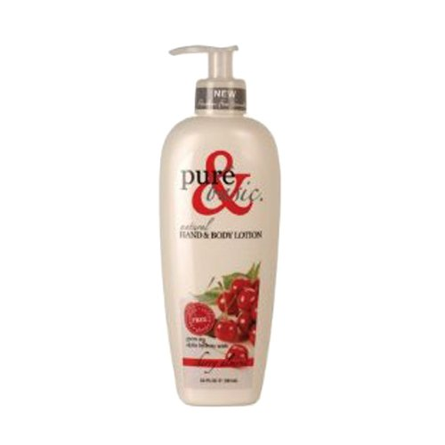 Pure and Basic Natural Bath and Body Lotion, Cherry Almond, 12 Fluid Ounce Basic Natural Bath