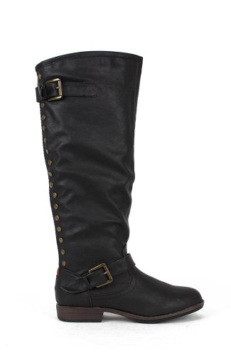Bamboo Montage-83 Knee High Studded Contrast Colored Zipper Riding Boot - Black PU