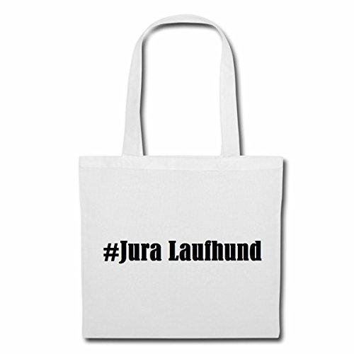 """Tasche""""#Jura Laufhund""""Größe""""38x42""""Farbe""""Weiss""""Druck""""Schwarz"""