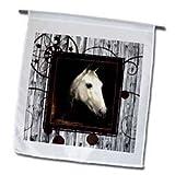 Doreen Erhardt Horses - Vintage Horse Portrait from 1910 by Caspar von Reth restored with Western background. - Flags - 12 x 18 inch Garden Flag