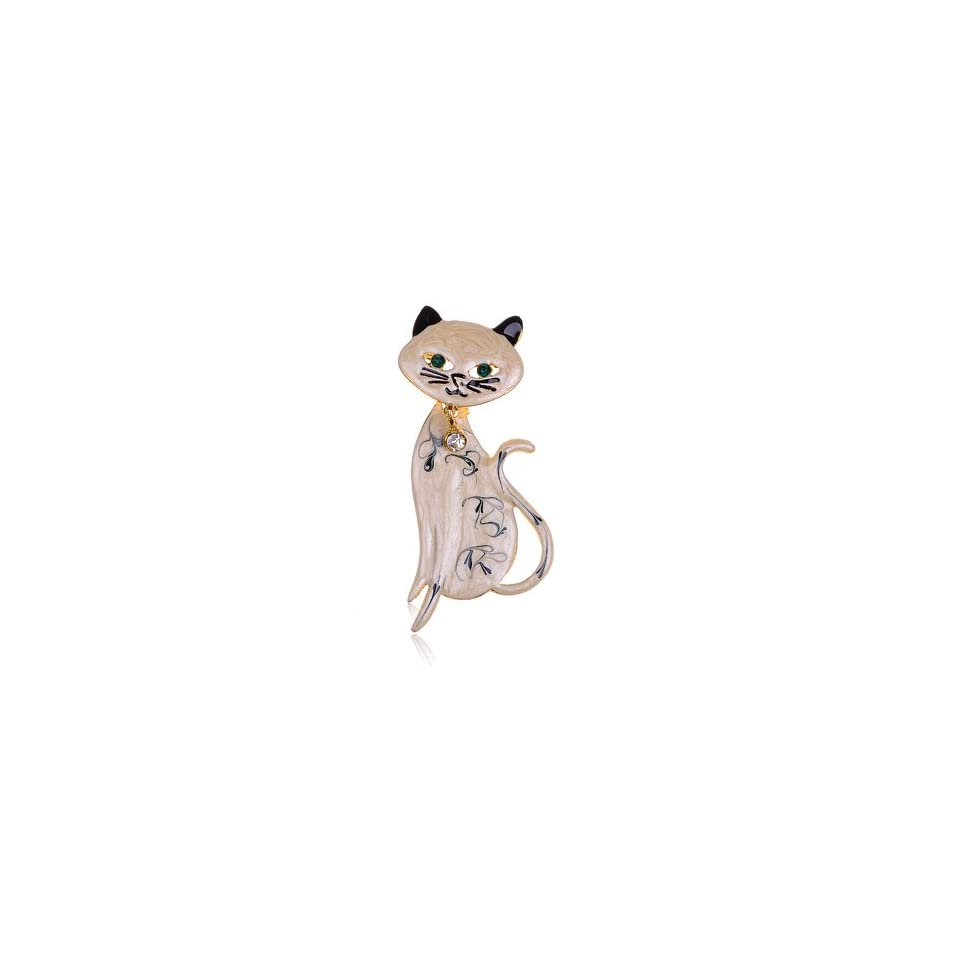 Cream Black Hand Paint Enamel Rhinestone Bowtie Bobble Head Kitty Cat Pin Brooch