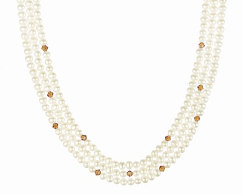 Blue Topaz Crystallized Swarovski Elements Bicone Bead and White Freshwater Cultured Pearl Necklace with Gold Plated Sterling Silver Clasp