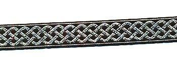 Celtic Knot Jacquard Trim - Black with Metallic Silver, .75