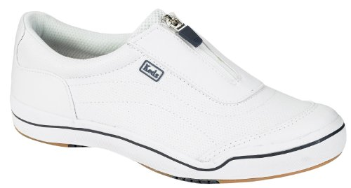 keds white leather zipper shoes