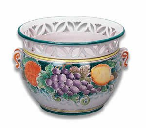 Handmade Cachepot with Handles and Cutouts From Italy (Italian Ceramics Cachepot compare prices)
