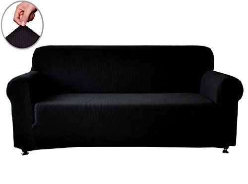 Chunyi Jacquard Sofa Covers 1 Piece Polyester Spandex Fabric Slipcovers Loveseat Black