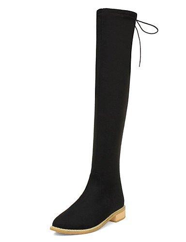 Donne Round elastico punta chiusa Tacchi Bassi pila inferiore stivali solido,Black,noi6.5-7 / EU37 / UK4,5-5 / CN37