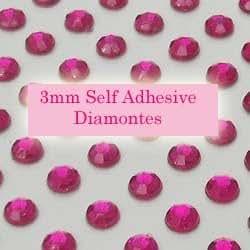 300 Hot Pink 3mm Acrylic Rhinestone Gems ~ Self Adhesive
