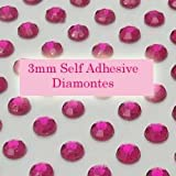 300 Hot Pink 3mm Acrylic Rhinestone Gems ~ Self Adhesive
