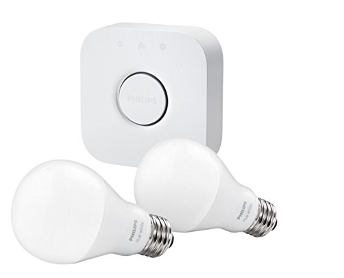 Philips Hue White A19 Starter Kit with two A19 LED light bulbs and bridge (hub), Works with Alexa (Wemo Led Lighting Starter Set compare prices)