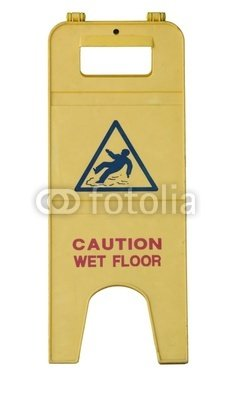 "Wallmonkeys Peel and Stick Wall Decals - Isolated Yellow Wet Floor Sign with Text - 18""H x 10""W Removable Graphic"