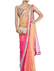 Rozdeal Pink And Cream Shaded Colour Net Saree
