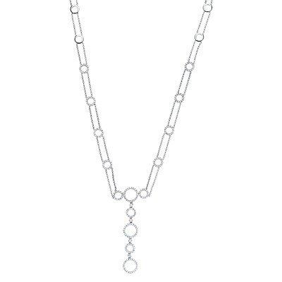 14k White Gold Diamond Necklace - JewelryWeb