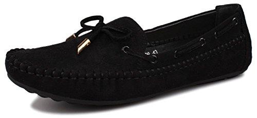 Kunsto Women's Suede Loafer Slip On Flat US Size 8.5 Black