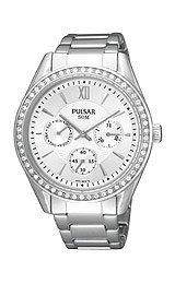 Pulsar Multifunction Swarovski® Crystals Silver Dial Women's watch #PP6009