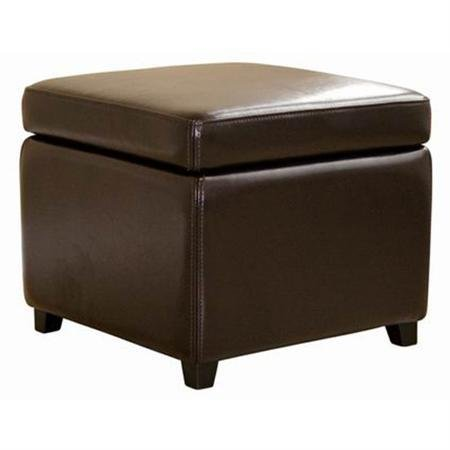 Baxton Studio Storage Leather Ottoman (Dark Brown)