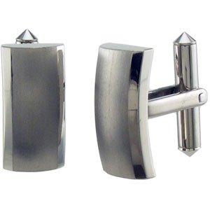 Titanium Rectangular Satin and Polished Dressy Cuff Links