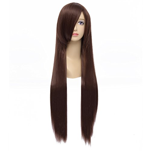 [Flovex 32 inches Long Straight Anime Cosplay Wig Natural Sexy Costume Party Hair (Dark Brown)] (Long Sexy Wigs)
