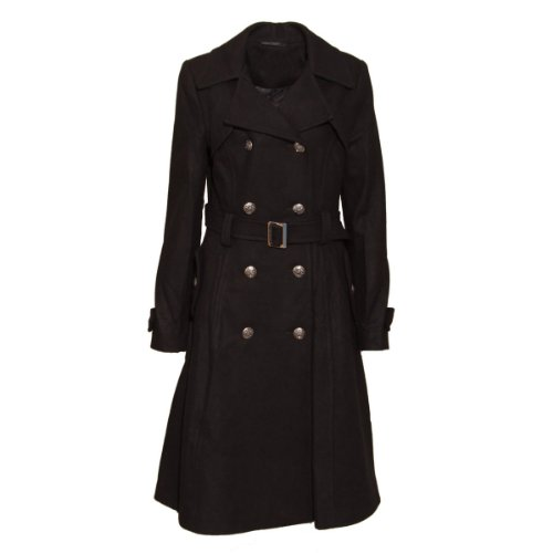New Womens Black Military Belted Ladies Fashion Tranch Coat Size 10