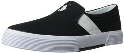Polo Ralph Lauren Men's Fakenham Fashion Sneaker,Polo Black/Pure White,7 D US