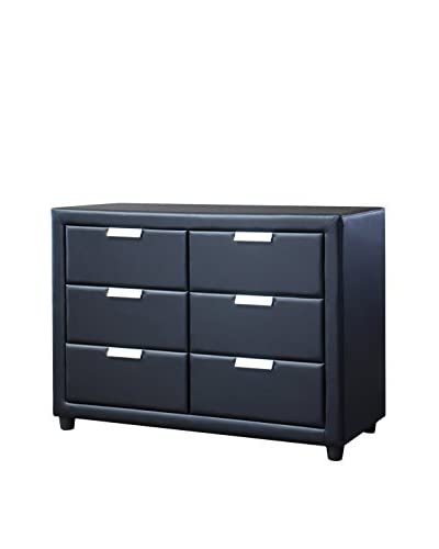 Baxton Studio Pageant Wood Contemporary Upholstered Dresser, Black