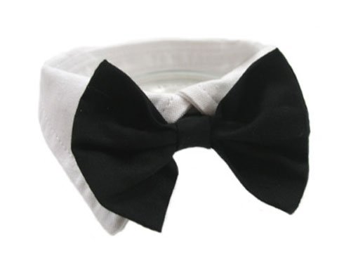 Dog Bow Tie Tuxedo Collar - Black, XXXL (Neck 26-31