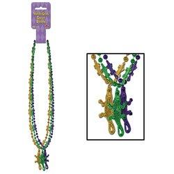 Mardi Gras Gator Beads w/Gator Medallion 33in. (6/Pkg) Pkg/1