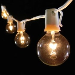 Globe String Lights, 2 In. Bulbs, 100 Ft. White Wire, Outdoor, Clear