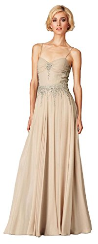 Mignon Vm943 Long Chiffon Vintage Formal Dress, Champagne, 10