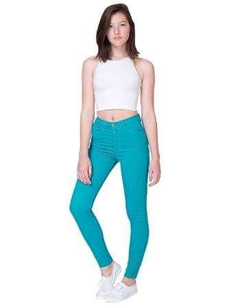 American Apparel Four-Way Stretch High-Waist Side Zipper Pant - Mermaid Green / 28/29