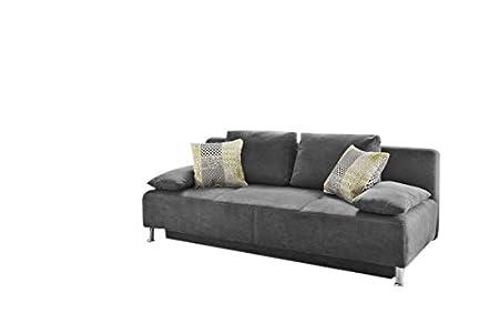 Schlafsofa NIL Stoff grau mit Gästebettfunktion und Bettkasten inkl. Kissen