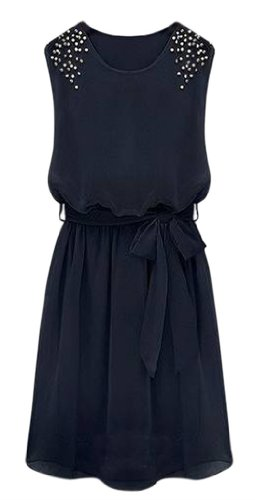 AM CLOTHES Womens Round Neck Middle-rise Dress with Belt Small Blue