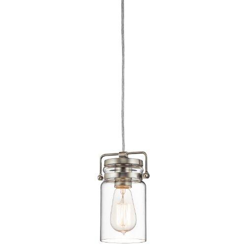 Kichler Lighting 42878Ni Brinley 1Lt Mini-Pendant, Brushed Nickel Finish With Clear Glass Shade