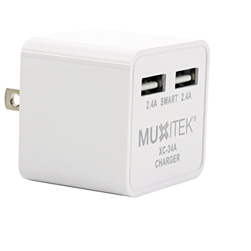 Dual USB wall Charger for Apple iPhone iPad, Samsung Galaxy, HTC, Nexus, Moto, Power Bank, Speaker & many more. Advanced Smart Technology & folding plug from MUXITEK®. Superior Quality. 'UL' Listed