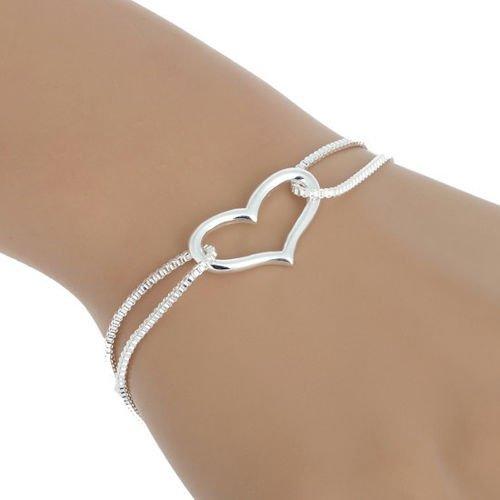 New 925 Sterling Silver Heart Love Bracelet Silver Chain Lady Women Jewelry Gift (As shown)