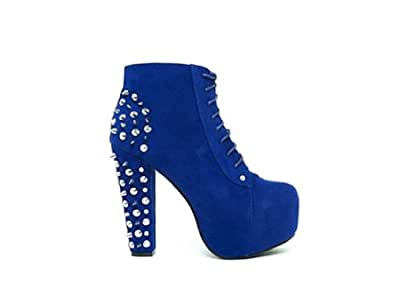 Lace up Platform Ankle Round Toe Booties + Studded Spike (5.5, cobalt blue)