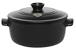 Emile Henry Flame Top 4.2-Quart Round Oven, Black