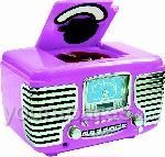 STEEPLETONE DINETTE RADIO/CD PLAYER (PINK COLOUR) 20 TRACK PROGRAMMABLE DUAL ALARM SNOOZE/SLEEP FUNCTION 230V AC MAINS POWERED (RETRO MUSIC SYSTEM 1960