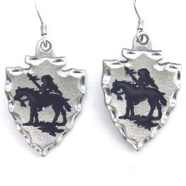 Native American Indian Inspired Indian Chief Silver Tone Dangle Earrings Women'S Jewelry