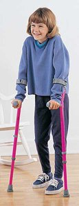 Walk-Easy Forearm Crutches. Size Adult, Color Black/Grey, Cuff Diam. 4&quot, Floor to Grip 28&quot-