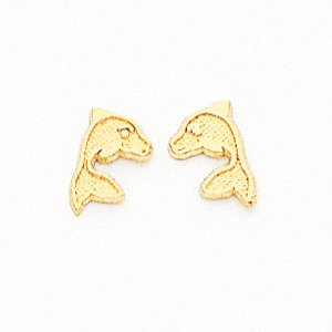 14k Dolphin Childrens Earrings - JewelryWeb