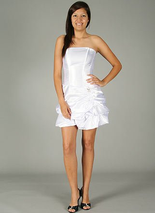 Satin Pick-Up Cocktail Dress MED WHITE