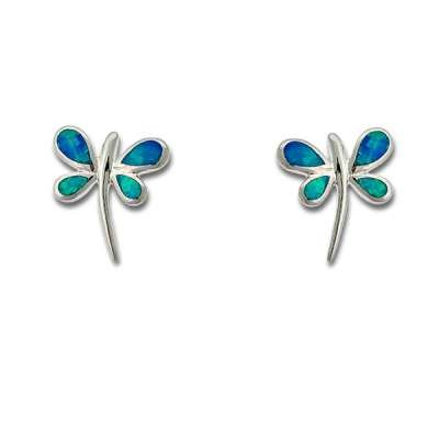 New Fashion Earrings Sterling Silver Blue Inlay Precious Gem Opal, Cute Butterfly design(WoW !With Purchase Over $50 Receive A Marcrame Bracelet Free)