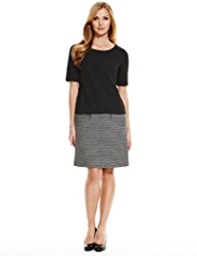 M&S Collection Cotton Rich Tweed Panel A-Line Dress