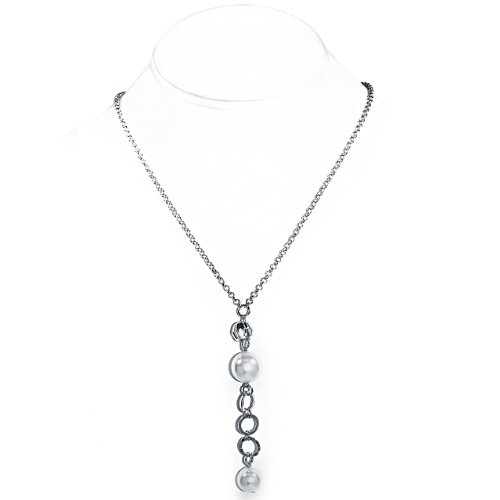 925 Sterling Silver Necklace with Dangling Sterling Silver Chain and White Pearl