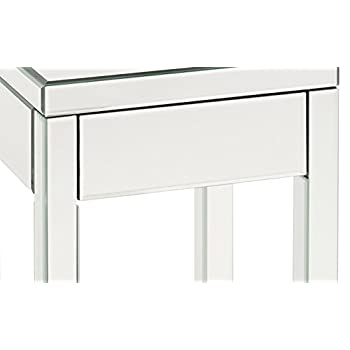 AVE SIX Reflections End Table with Drawer, Silver Mirrored Finish