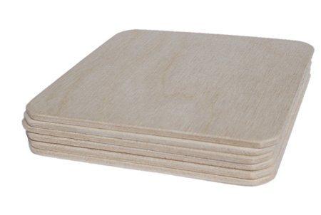 10 carrées en bois à peindre étiquettes blanches 100 mm