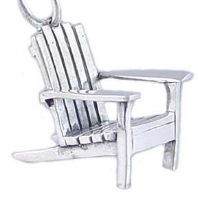 Adirondack Beach Chair 925 Sterling Silver Traditional LARGE Charm or Pendant